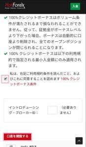 HotForex(ホットフォレックス) アカウント開設 03