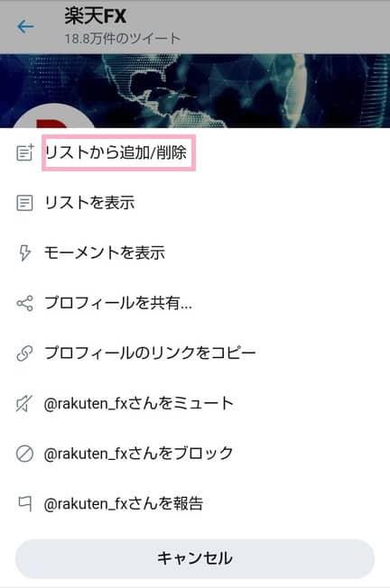 モバイル版Twitter リスト ユーザー追加/削除 02